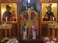 Iconostasis, detail. Oak. Screen and icons by Aidan Hart