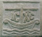 The Church as ark. Carved on a beach boulder.
