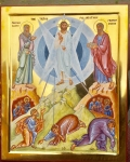 """Just finished this icon of the Transfiguration. Christ shows us """"the nature of man arrayed in the original beauty of the Image of God."""""""